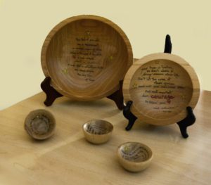 Assortedwooden story bowl sizes