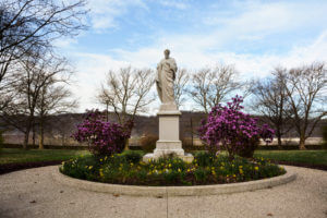 St. Joseph statue, surrounded by blooming flowers, on our Motherhouse grounds.