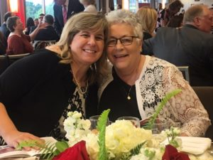 Sister Anna Marie Gaglia, right, with former student Jackie Knupp.